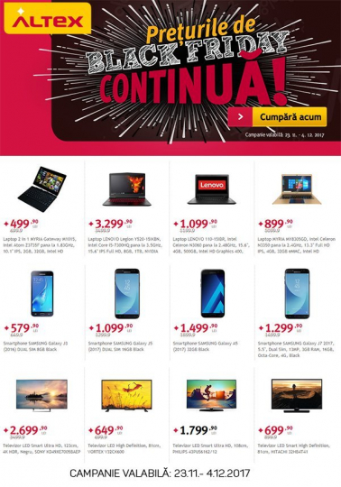 Catalog ALTEX Black Friday Continua, 23 Noiembrie 2017 – 04 Decembrie 2017